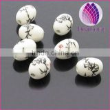 17*13mm black bamboo ellipse loose ceramic beads