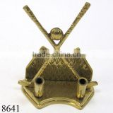 Decorative Brass Pen Holder, Golf Themed Design