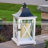 White Wooden Lantern | Decorative Candle Lantern | Square Candle Lantern | Lantern With Metal Top