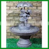 FO-1202 Boy and Girl Fountain with Umbrella for Decor