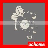 UCHOME Modern Style Butterfly Fairy DIY Mirror Wall Clock Wall Sticker Home Decor Bedroom Living Room