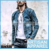 Slim Fit Western Style Men's Short Denim Jacket OEM Autumn 100% cotton casual short washed jeans coat for men