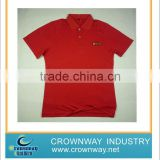 Unisex 1*1 rib collar blank sport red polo shirt with two self fabric patch on shoulders