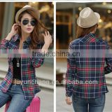 womens plain lined plaid flannel shirt