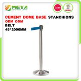 retractable belt crowd control stanchion with cement bases