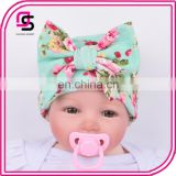 2017 wholesale big bow knit hat cute baby Knitted cotton soft baby cap