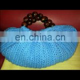 Tote Crochet Bag With Beaded Handle/Blue Flat Bottom Bag With Beaded Handle