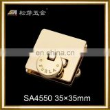 Metal Square Gold Plated Rotated Lock for Handbags