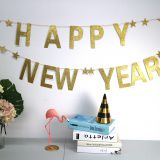 BA070 High Quality 2019 New Year Party Decoration Paper Glitter Happy New Year Flag banner With Star