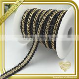 Fancy shoes boots decoration black hotfix rhinestone chains belt with gold metal chain FHRS-032