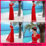 Fashional Beaded Neckline and Waistline Double Using Straps Chiffon Plus Size Floor Length Evening Dress