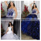 2014 New Arrival Sweetheart Floor Length Ball Gown Beaded Ruffled Blue Quinceanera Dress Cheap