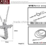 yiwu factory sell cheap 316l stainless sterling steel cross with crystal rhinestone charms pendant allergy free