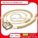2014 China jewelry heart diamond fake belly button piercing chains