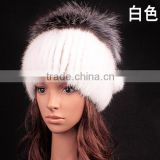 New 2015 Top quality Stylish Real Mink Fur Hats With Silver Fox Fur Pompom female headwear