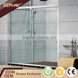 top rated good price 304 stainless steel adjustable frame bifold door double sliding glass shower door