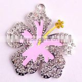 AAA Quality Fashion Cheap Silver Alloy Christmas clover rhinestone charm necklaces flower pendants for kids jewelry making!!