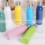 Hot selling colorful solid color plastic water bottles with metal caps cutom color plastic frosted water bottle