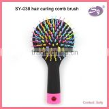 2015 new beauty product colorful S-curl hair brush/comb with mirror