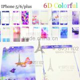 6D Silicone Fancy Color Tempered Glass Screen Protector With Design for iPhone 5 6 6S Plus ,Smart Tempered Screen Protector