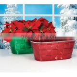 INquiry about Shiny oval shape christmas metal flower pot without handle