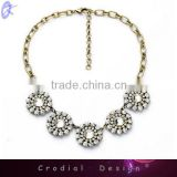 2014 Hot Sale Fashionable Jewelry Alloy Doll Pendant Necklace With Big Rhinestone