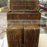 Vietnam handicraft product bamboo basket, laundry basket with 2 compartment and lids, cheap basket