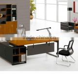 Office furniture set metal leg table with side return desk and fire proof chair (FOH-R1818)