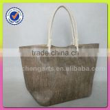 women newest fashion brown color jute and cotton material shoulder tote bag style cotton handle