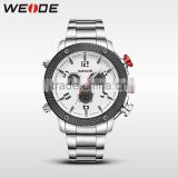 Brand WEIDE Sport Watch Analog LCD Dual Time Display Date Alarm Stop Watch Quartz Stainless Steel Back Watch Band 30m Waterproof