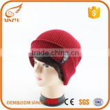 100% Acrylic/Cotton red winter crochet hat knitted mens beanies