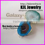 KJL-A0337 natural blue and green quartz geode stone connector ,charm semi-precious druzy stone pendant finding