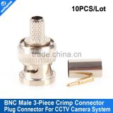 10pcs/lot Crimp on BNC Male Coax Coaxial Compression Connector RG59 Adapter For CCTV camera