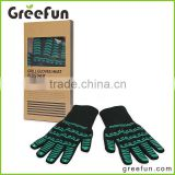 Gift Box Packaging Heat Resistant Kitchen Gloves , Chef Cooking Microwave Oven Gloves, Cotton Lining Thick Barbecue Grip Mitt