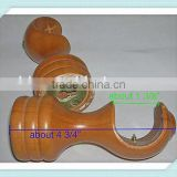 2 PAIR Large Wood Curtain Drapery Rod Finials, Balls Crown Pair of Brackets,Curtain Rail Bracket