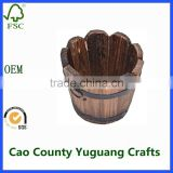 wooden round barrel planter flower pots home office garden decoration