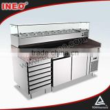 Marble Top And Professional Stainless Steel Pizza Prep Table/pizza display refrigerator/refrigerated pizza counter