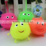 Smiley plush ball vent ball bouncing ball with yoyo luminous stall selling children's lighted toys puffer ball/