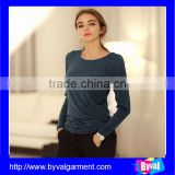 Factory direct price wholesale 100% cotton Jasper plain O Neck women long sleeve T-shirt