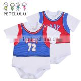 Wholesale Short Sleeve Blue White Graphic Letters Printing Sport Baby Custom Baby Romper Bodysuit Clothes