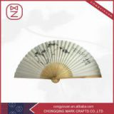 Chinese silk white bamboo hand fan wholesale office decor business gift men favor fan