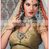 Wholesale jodha akbar Bridal jewellery-Indian Bridal Diamond jewelry set-Wedding wear Dulhan long set-Dulhan sets