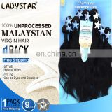 2017 hot sell ladystar 9 pcs package hair 100% human hair malaysian hair