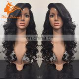 7A African Braided Wig Long Indian Body Wave Human Natural Hair Lace Front Wig With Bangs Hot Selling For Women
