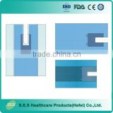 Blue SMS Surgical Impervious U Drape with Adhesive