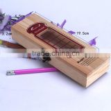 Good quality low moq side top pencil case, wood made pencil box