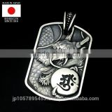 Premium and Luxury engraved dragon dog tag Silver and Gold pendant with Stylish made in Japan