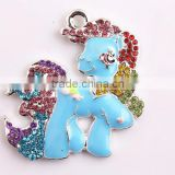 Wholesale silver Alloy Zinc crystal rainbow horse Rhinestone Pendants For Kids Jewelry Making!!