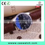 Hotsales quality classic men's watch with Calendar, shiny blue glass leather watch, stainless steel back waterproof watch