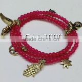 Red small beaded jade bracelet 3 wrap bracelets with gold charms